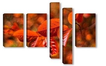 Модульная картина Арония осенью