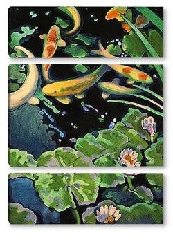Модульная картина Пруд с золотыми рыбками.