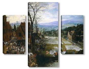 Модульная картина Беление холстов близ рынка во Фландрии