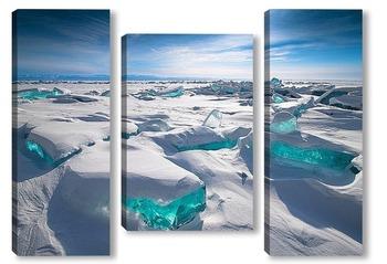 Модульная картина Байкальские сокровища: Сапфир и Изумруды