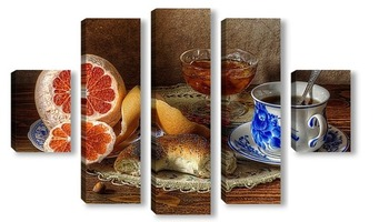 Модульная картина Натюрморт с грейпфрутом
