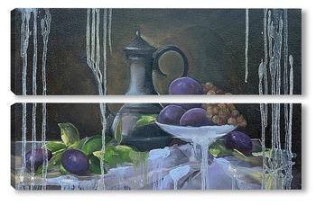 Модульная картина Натюрморт со сливами