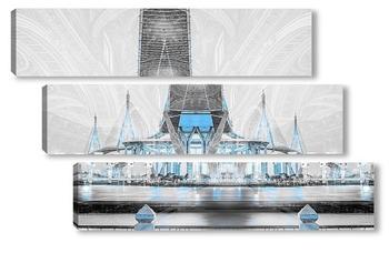 Модульная картина Пумипона шоссе мост Сумерки