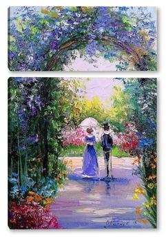 Модульная картина Прогулка в цветущем саду