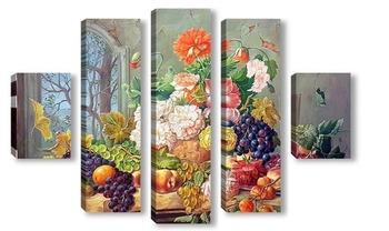 Модульная картина цветы в вазе и фрукты