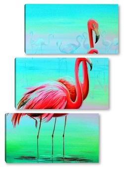 Модульная картина Вечерние фламинго