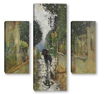 Модульная картина Улица под дождем