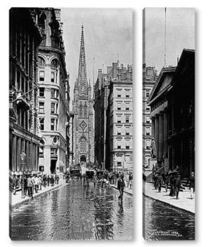 Модульная картина Уолл Стрит и церковь Святой Троицы,1894г.