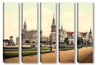 Модульная картина Церковь и Королевский замок, Старый город, Дрезден, Саксония, Германия.1890-1900 гг