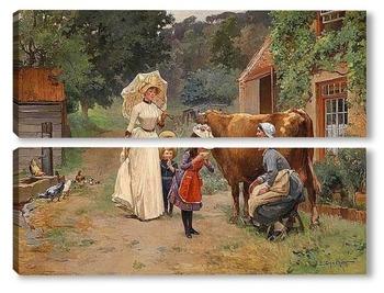 Модульная картина Посещение фермы