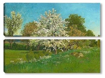 Модульная картина Цветущее плодовое дерево