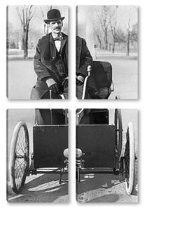 Модульная картина  Генри Форд в своём автомобиле,1896г.