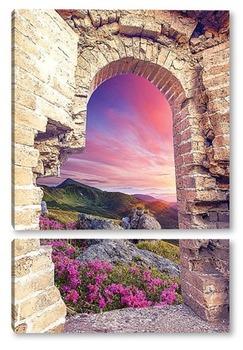 Модульная картина Цветущий пейзаж