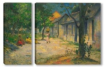 Модульная картина Деревня в Мартиника (женщины и козы в деревне)