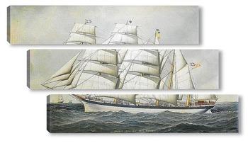 Модульная картина Британский корабль в море под всеми парусами
