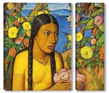 Модульная картина Хуанита среди цветов