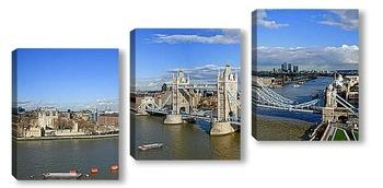 Модульная картина Солнечная панорама с видом на мост