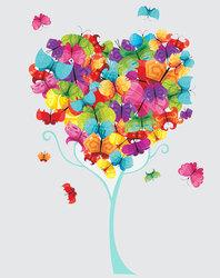Наклейки Дерево из бабочек
