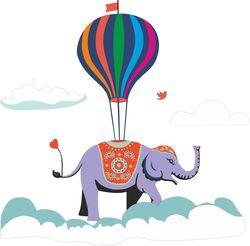 Наклейки Слон на воздушном шаре