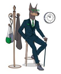 Наклейки Доберман в костюме