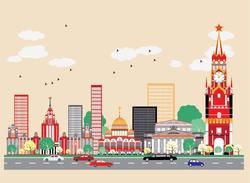 Наклейки яркая Москва