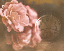 Наклейки Часы с розами