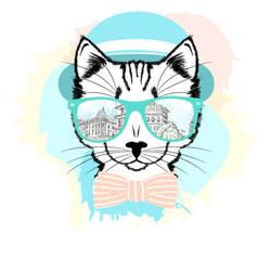 Наклейки кот в очках