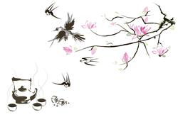 Наклейки Веточка с птичками
