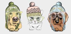 Наклейки Животные в шапочках