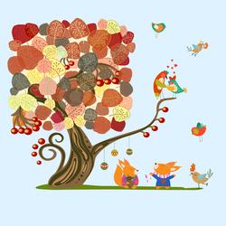 Наклейки Осеннее дерево