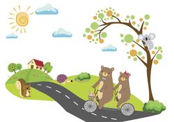 Наклейки Прогулка на велосипеде
