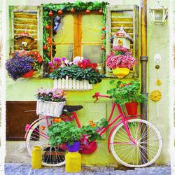 Наклейки Припаркованный велик с цветами