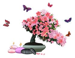 Наклейки Бонсай и бабочки