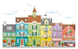 Наклейки Городские домики