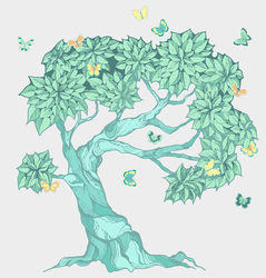Наклейки Бирюзовое дерево