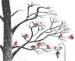 Наклейки снегири на дереве