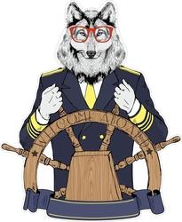 Наклейки Капитан волк