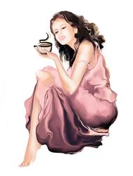 Наклейки Девушка с чашечкой кофе