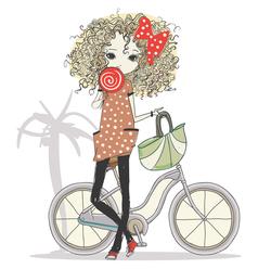 Наклейки Девушка с велосипедом