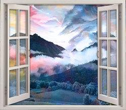 Наклейки окно в горы