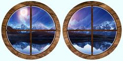 Наклейки Круглые окна. Полярные горы