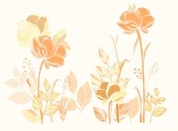 Наклейки Бежевые цветы