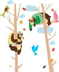 Наклейки медведи на дереве