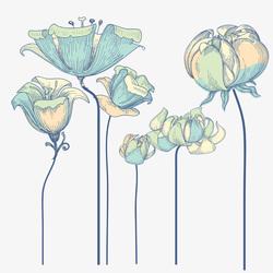 Наклейки Бирюзовые цветы