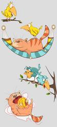 Наклейки Коты с птицами