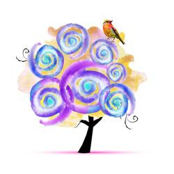 Наклейки Птичка на дереве