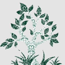 Наклейки Зеленое дерево с орнаментом