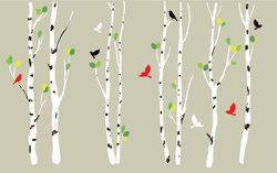 Наклейки березы с птицами