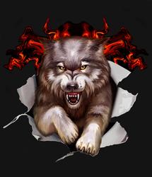 Наклейки Злобный Волк