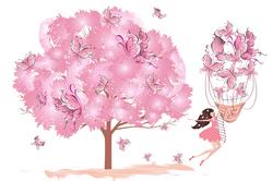 Наклейки Розовое дерево счастья